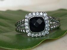 Designer Inspired Sterling Silver Black Onyx & Diamond Petite Albion Ring Size 7