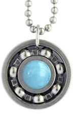 Aquamarine Roller Derby Skate Bearing Pendant Necklace - March Birthstone