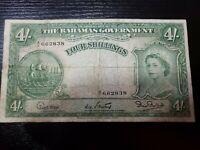 🇧🇸 Bahamas 4 shillings P-13a  1953  A/2 Prefix Banknote 031021-11
