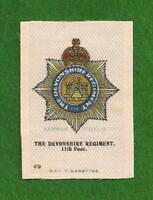 The DEVONSHIRE REGIMENT printed silk Regimental Badge original WW1 1915