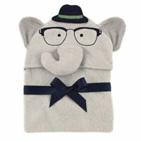 Hudson Baby Animal Face Hooded Towel, Smart Elephant