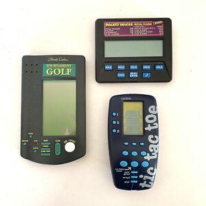 Radica - 3 Electronic Game Lot - Pocket Deuces, Tournament Golf, Tic Tac Toe