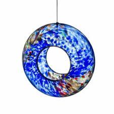 Sienna Glass Blue Circle Hanging Bird Feeder Handmade Garden Outdoor Ornament