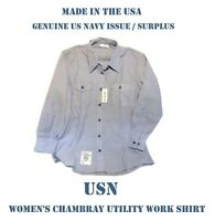 US MILITARY NAVY USN BLUE CHAMBRAY UTILITY WORK LONG SLEEVE SHIRT WOMEN'S 40x32