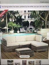 Grey rattan Corner Sofa,Table Set And Cream Cushions