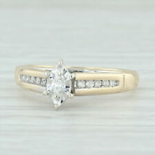 12ctw Diamond Engagement Ring - 10k Yellow White Gold Sz 6.5 Cathedral Marquise