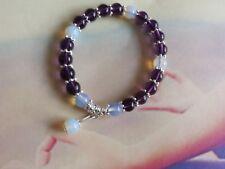 8mm Purple Amethyst & Moonstone bead Flex Bracelet + Pouch