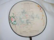 Vintage Dec. 26,1953 Royal Interocean DINNER MENU silk fan,Tegelberg,OCEAN LINER