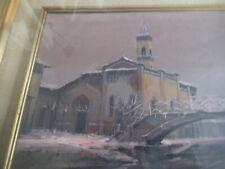 QUADRO ad OLIO del pittore LOREDANO RIZZOTTI chiesa S.Lorenzo sul Naviglio a MIL