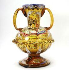 "Antique Moser Art Deco Amber Glass 10"" Vase w/ Enameled Flowers Applied Handles"