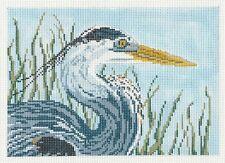Great Blue Heron Bird handpainted 18 mesh Needlepoint Canvas by Needle Crossings
