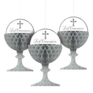 Hanging Chalice First Communion Religious Honeycomb 3 Pack