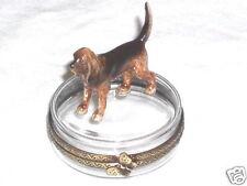 Limoges Hand Painted Porcelain Bloodhound Dog on Crystal Trinket Box