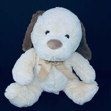 "Dan Dee Dog Puppy Plush Tan Bow Brown Nose Ears Large 15"" Stuffed Animal Lovey"