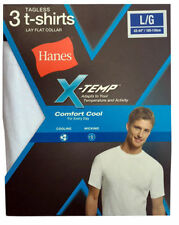 Hanes White Lay Flat Collar Men's X-TEMP 6-Pack TAGLESS Crew necks T-shirt NWT