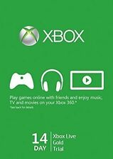 New Microsoft Xbox Live Gold 14 Day Trial Code Card