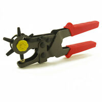 """6 Sized 9-1/2"""" Heavy Duty Leather Hole Punch Hand Pliers Belt Punches Revolving"""
