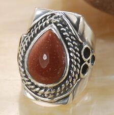 Shiny gold sand stone gemstone silver ring jewelry size 10.5 H50
