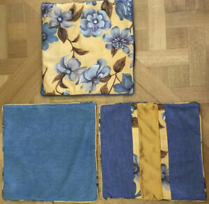 Unique Hand Made Upcycled Silk Scarf& Denim Into 3 Cushion Covers Size 17x17 In