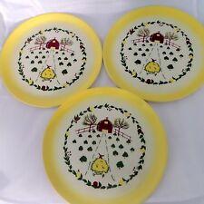 "Vintage Brock California Farmhouse Yellow Set of 3 Dinner Plates 11"""