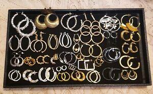 36 Piece Vintage & Modern Mixed Tone Pierced Hoop Earring Lot