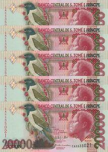 LOT, Sao Tomé/St. Thomas 20,000 Dobras (31.12.2013) p67e x 5 PCS UNC