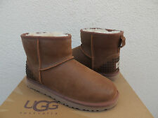 UGG CHESTNUT CLASSIC MINI STUDS LEATHER/ SHEEPSKIN BOOTS, US 9/ EUR 40 ~ NEW