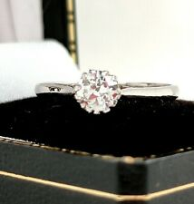 Vintage PLATINUM and DIAMOND Solitaire Ring - Size L - VERY PRETTY DIAMOND