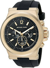 Michael Kors Men's Dylan Quartz S. Steel Black Silicone 100m Watch MK8445