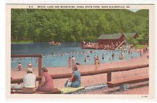 Beach Lake Mountains Vogel State Park Blairsville Georgia linen postcard