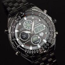 INFANTRY Mens Digital Quartz Wrist Watch Sport Chronograph Dual Stainless Steel