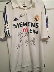 Real Madrid Signed 2002-2003 Squad Home Football Shirt COA Raul Zidane Figo