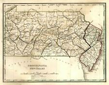 Pennsylvania and New Jersey State Maps 1835 Bradford early U.S. map