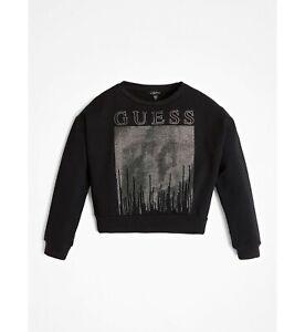 GUESS  Sweatshirt schwarz mit Strass & Logo Gr. 140 - 164  NEU
