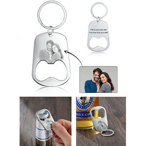 Personalized Bottle Opener Key Ring Key Chain Stainless Steel Photo Custom Gift