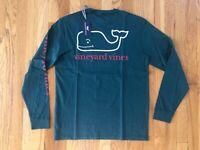 NWT Vineyard Vines Men's LS Two Tone Christmas Green Whale Pocket T-Shirt S