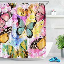 Colorful Watercolor Butterfly Shower Curtain Set Polyester Fabric Bathroom Hooks