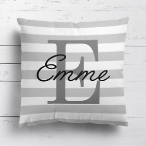 Personalised Grey Name & Initial Stripes Cushion Cover Pillow Case & Filling