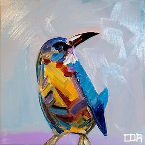 IMPRESSIONISM HUMMINGBIRD ABSTRACT PAINTING DECOR COLLECTION ORIGINAL CANVAS NR