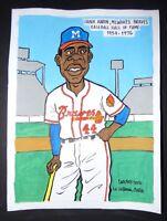 Original Cuban Drawing HANK AARON Baseball Hall of Fame MILWAUKEE BRAVES / Cuba
