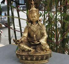 """12""""Tibet buddhism Fane brass Guru Padmasambhava Rinpoche Tantric Buddha Statue"""