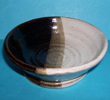 Studio Pottery - Attractive Tri-Glazed Single Footed Pedestal Bowl (M.M).