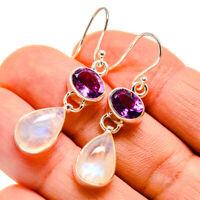 """Rainbow Moonstone, Amethyst 925 Sterling Silver Earrings 1 3/4"""" Jewelry E410012F"""