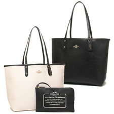 New Coach City Tote Reversible Black Chalk Handbag with Pouch F36609