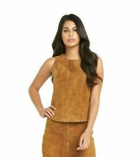🌹 New UK 8 South Real Suede Sleeveless Tan Camel Top Zip Back RRP £62 Festival