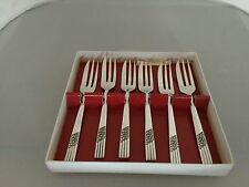 "BOXED SET OF 6 ARDEN PLATE CAKE/PASTRY FORKS IN GREAT CONDITION 5"" LONG"