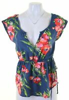 ABERCROMBIE & FITCH Womens Top Blouse Size 6 XS Multicoloured Floral Oversized