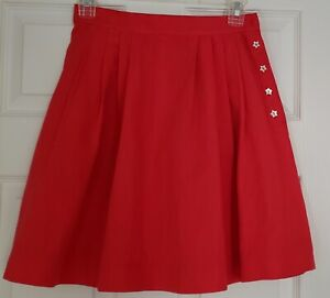 * MIU MIU * RED PLEATED SHORT SKIRT * SIDE STAR BUTTONS * 40 / S * AUTHENTIC