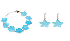 Color Changing Blue Shell Flower Bracelet and Earrings