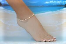 Creamy Seed Pearl & Italian .925 Sterling Silver Ankle Bracelet 8 to 9 inches
